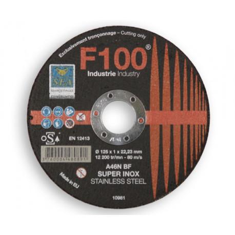 Disque à tronçonner Inox SEA Gamme F100 D125, épaisseur 1,0mm